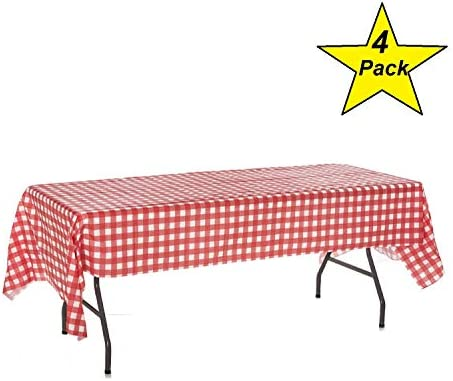 Oojami Plastic White Checkered Tablecloths product image