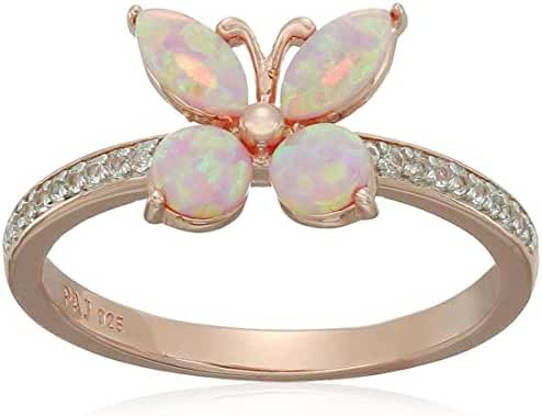 Rose Gold and Rhodium Plated Sterling Silver Created Pink Opal and Created White Sapphire Butterfly Ring
