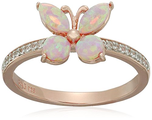 14k Rose Gold Plated Sterling Silver Created Pink Opal and Created White Sapphire Butterfly Ring, Size - 14k Butterfly Ring