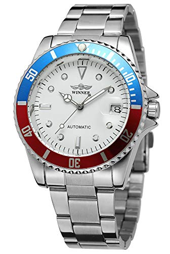 Men Automatic Mechanical Watches Winner Luxury Brand Full Steel Waterproof Mens Watches With Calendar (Silver White Blue)