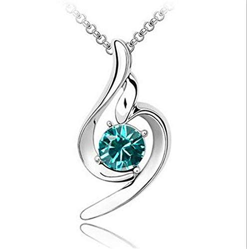 New Womens Angel Sky Blue Crystal Rhinestone Silver Chain Pendant Necklace