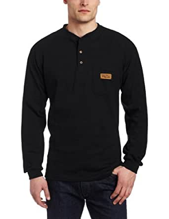 Walls Men's Long Sleeve Henley Pocket T-Shirt With Wicking Finish, Black, 2X-Large