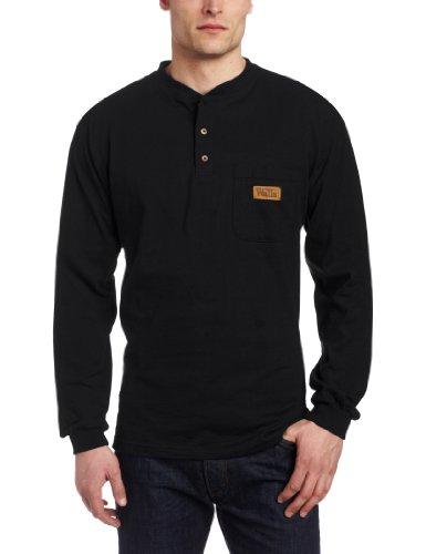 Walls Men's Long Sleeve Henley Pocket T-Shirt With Wicking Finish, Black, Large