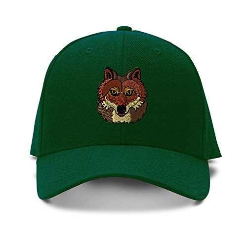 [Wolf Head Embroidery Embroidered Adjustable Hat Baseball Cap Forest Green] (Wolf Head Hat)
