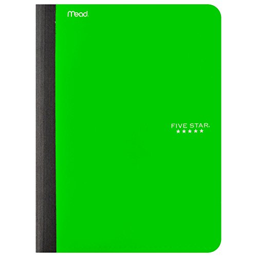 "Five Star Composition Book / Notebook with Pocket, 100 Sheets, 9-3/4"" x 7-1/2"", Lime (73524)"