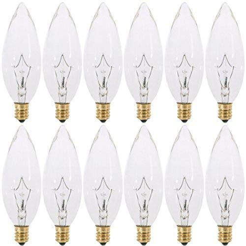 40 Watt Chandelier Light Bulb Candelabra Base 120V 40W CTC Torpedo Tip Shaped Clear Straight Dimmable Incandescent Light Bulbs, E12 Base Lamps Pack of 12