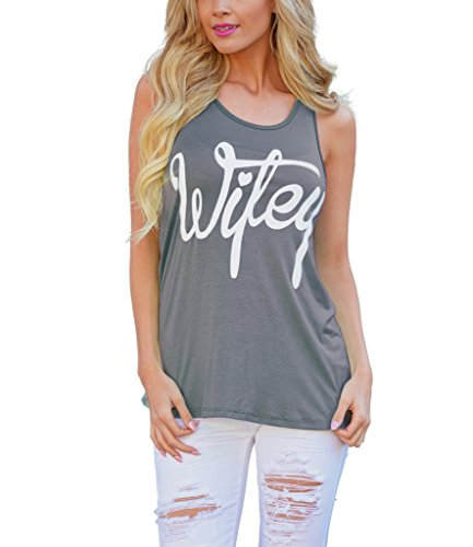Mansy Women's Letter printed Wifey Tank Top ,Gray,Medium