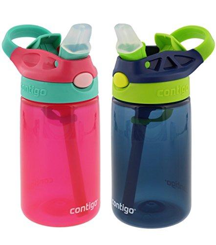 Contigo Kids Autospout Gizmo Water Bottle, 14oz (Cherry Blossom/Navy Blue) - 2 Pack