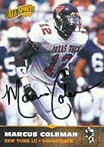 Autograph Warehouse 80115 Marcus Coleman Autographed Football Card New York Jets 1996 Score Board Rookie No .37