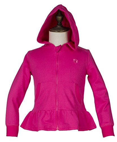 - Holy Unicorn Little Girls' Cotton Long Sleeve Full-Zip Ruffle Bottom Jersey Hoodies with Pockets 5 Amaranth