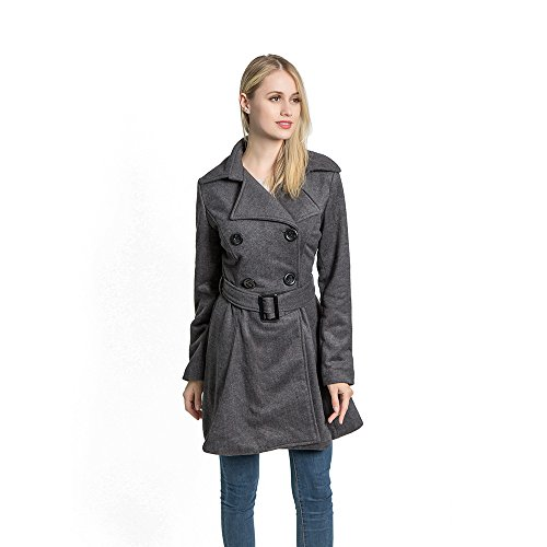 (KENGURU COVE Women's Wool Coat Casual Double-Breasted Jacket with Belts Trench Outwear(Gray,L)