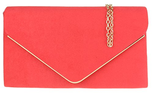 H&G Ladies Faux Suede Clutch Bag Envelope Metallic Frame Plain Design - Royal Blue Coral