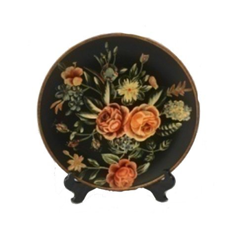 PMJC Company Black Porcelain Plate with Hand Painted Pink & Peach Rose Flowers Plus Wooden Stand, (Hand Painted Porcelain Plate)