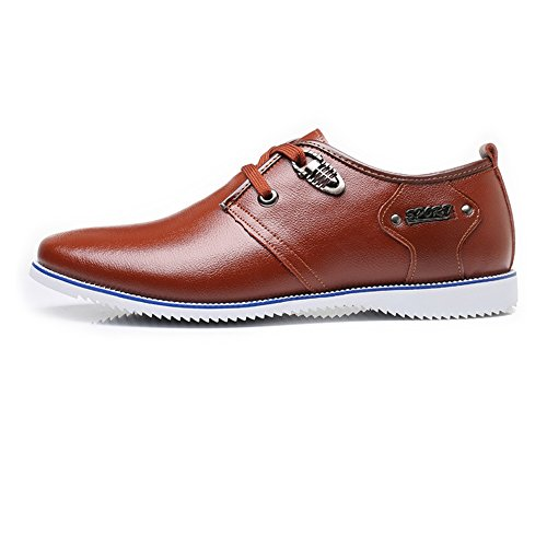 Ruanyi Chaussures en Cuir Oxford Hommes, Formelles Business Shoes Matte Wing-Tip en Cuir Véritable Upper Lace Up Oxford Doublés Respirant pour Les Hommes Marron