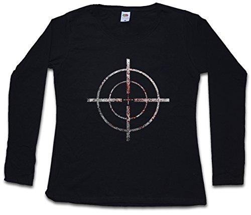 BLOODY CROSSHAIRS SNIPER DAMEN GIRLIE LANGARM T-SHIRT - Fadenkreuz Target Sign Gun Rifle Army Cross Ego Shooter Größen XS – 2XL