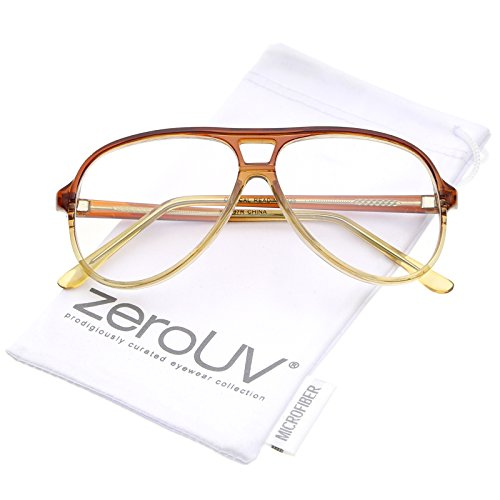 zeroUV - Retro Transparent Flat Top Teardrop Clear Lens Aviator Eyeglasses 56mm (Brown-Yellow / - Eyeglasses Plastic Aviator