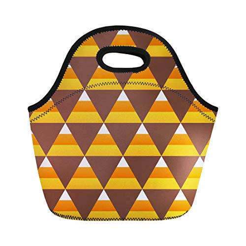 Semtomn Lunch Bags Orange Pattern Yellow October Halloween Candy Corn Colorful Treat Neoprene Lunch Bag Lunchbox Tote Bag Portable Picnic Bag Cooler Bag ()