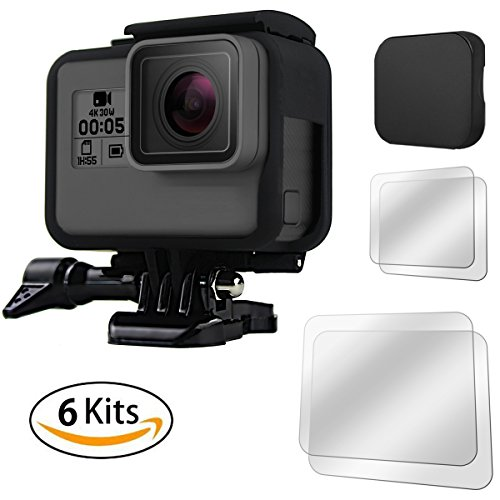 FitStill GoPro Hero (2018)/6/5 Frame Case Shell + (4 Pcs) Screen Protectors + Silicone Protective Lens Cover