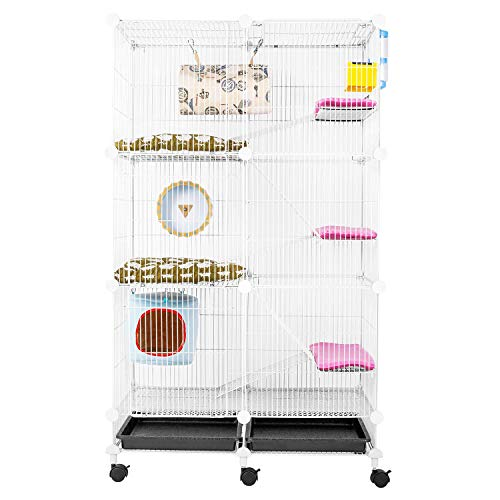WorldWide Selection Pet Cage Hutch for Squirrel/House Cat/Bunny/Ferret/Chinchilla/Guinea Pig or Other Small Animals, Expandable, Three-Story
