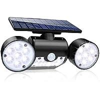 Luz Solar Exterior, Ultra Potente LED Foco Solar con Sensor de Movimiento Doble Cabeza IP65 Impermeable 360 ° Ajustable…