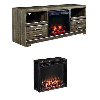 amazon com ashley furniture signature design frantin modern tv rh amazon com driftwood tv stand with fireplace insert tv stands with fireplace inserts