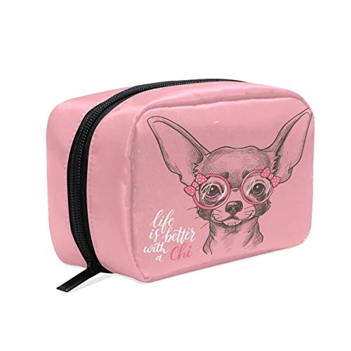 (Girl Chihuahua Cosmetic Bag Makeup Case, Pink Animal Toiletry Bags Travel Organizer Multifunction Purse for Women Adult Kids Vacation Bathroom)