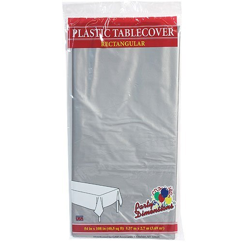 Plastic Party Tablecloths   Disposable  Rectangular Tablecovers   8 Pack   Silver   By Party Dimensions