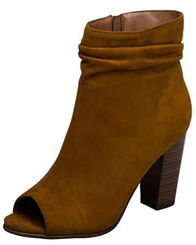 Breckelles Womens Slouchy Stacked Chunky Heel Peep Toe Bootie Boots