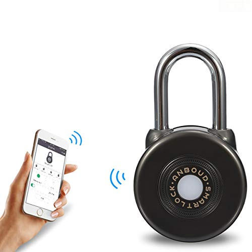 Fingerprint Padlock - LEEGOAL Waterproof Bluetooth Fingerprint Smart Padlock for House Door, Suitcase, Backpack, Gym, Bike, Office, APP Is Suitable for Android/IOS