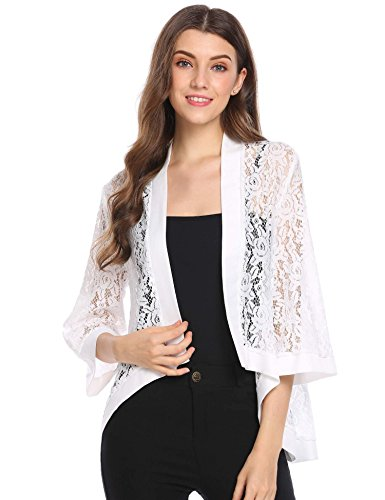 ion 3 4 Sleeve Sheer Lace Crochet Shrug Loose Fit Cardigan,White,Small (Crocheted Shrug)