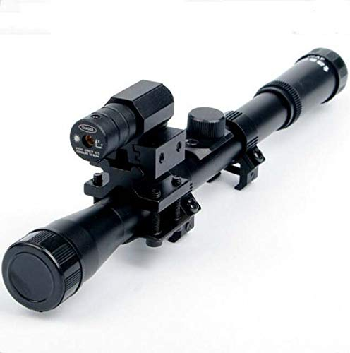 Convenient Store Premium Products 4x20 Rifle Optics Scope Tactical Crossbow Riflescope with Red Dot Laser Sight and 11mm Rail Mounts for 22 Caliber Guns Hunting