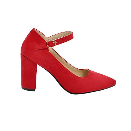 Heels High WeiPoot Toe Buckle Shoes Red Pointed Frosted Women's Pumps Solid w7FSpq7Y