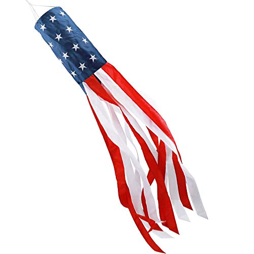 HOOSUN 60 Inch American US Flag Windsock, Outdoor Embroidered Stars & Stripes USA Patriotic Decorations-UV ray- Water Resistant-Fade-Resistant- Tear Resistant (American Flag Windsock)