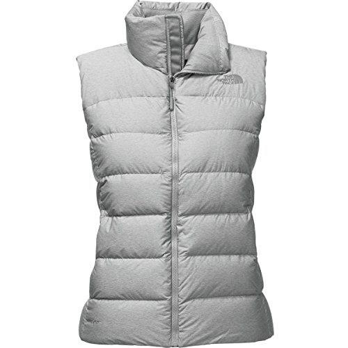 Vest Pocket Embroidered Chest (The North Face Women's Nuptse Vest TNF Light Grey Heather X-Large)