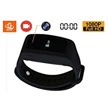 eoqo® Spy Watch Camera | 1080P Full HD Dvr Hidden Camera Intelligent Bracelet Camcorders Video Recorder with Adjustable Wristband 16GB