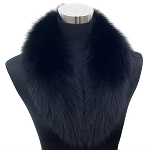 springwind Natural Pelo Sintético Fluffy cuello mujer para abrigos bufandas (negro)