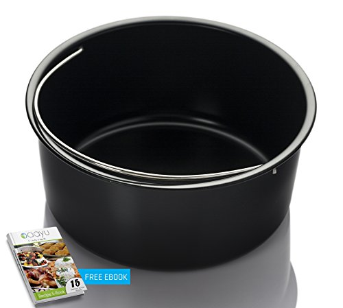 Air Fryer Baking Pan - with free e-Cookbook - for Gowise Philips NuWave Cozyna Power Farberware Secura and more brands(Universal Air Fryer Accessories)- Fit all 2.75QT 3.7QT 5.3QT 5.8QT