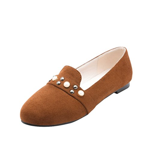 YOUJIA Damen Slip On Runde Zehenkappe Pumps Flat Mokassin Summer Flache Schuhe mit Perlen Gelb