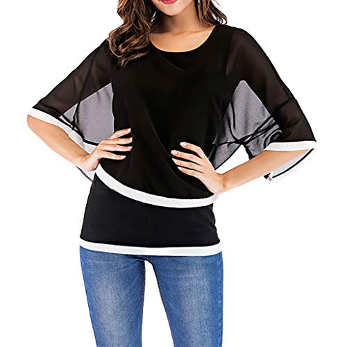 Aniywn Women Summer Thin Tops Ladies Chiffon O-Neck Solid Tunic T Shirt Bell Sleeve Blouse Clothing Black