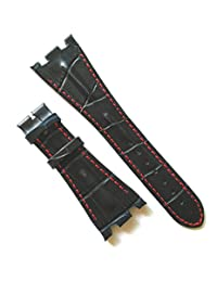 28MM Navy Leather Red Stitching Watch Band Strap Fit AP Audemars Piguet