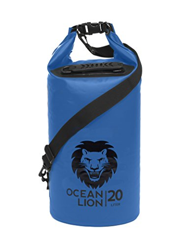 Adventure Lion Premium Waterproof Dry Bag With Shoulder Strap & Grab Handle, Roll Top Dry Sack Great For Kayaking, Swimming, Boating (Blue, 20 (Adventure Bag)
