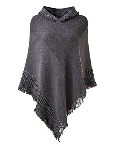 SUNNYME Women Solid Color Poncho Hooded Fringes Crochet Shawl Capes Cover Up Cardigan Grey One ()