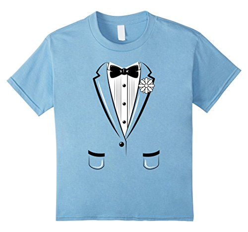 Price comparison product image Kids Kids Tuxedo T-Shirt Boys Girls Halloween Prom Black Bowtie 4 Baby Blue