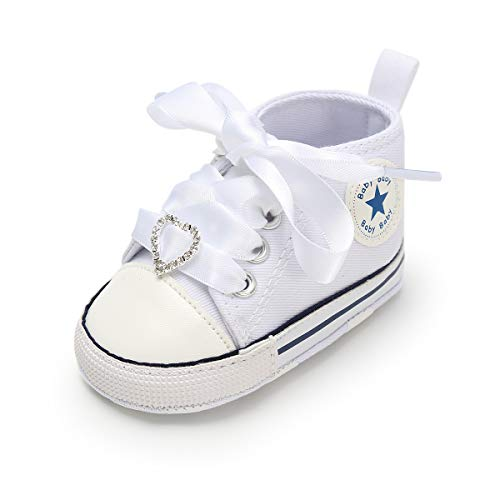 (Baby Boys Girls Canvas Shoes Basic Sneakers Lace Up Infant Newborn First Walker Prewalker Shoes(0-18 Months) (6-12 Months M US Infant, I-White & White lace))