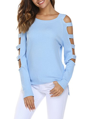 Soteer Women's Long Sleeve Crew Neck Warm Cashmere Sweater Light Blue M