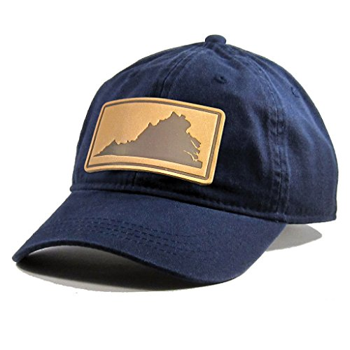 (Homeland Tees Men's Virginia Leather Patch Cotton Twill Hat Navy)