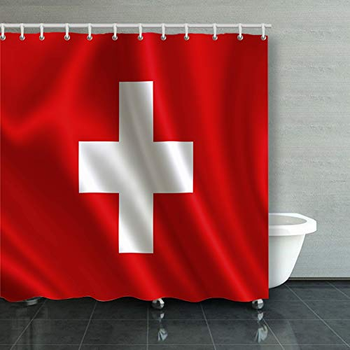 Switzerland Flag Series Flags World Country Backgrounds Textures Swiss Backgrounds Textures Signs Symbols Swiss Signs Symbols Shower Curtain Polyester Fabric Bathroom Decor Sets with Hooks 60 x 72 I