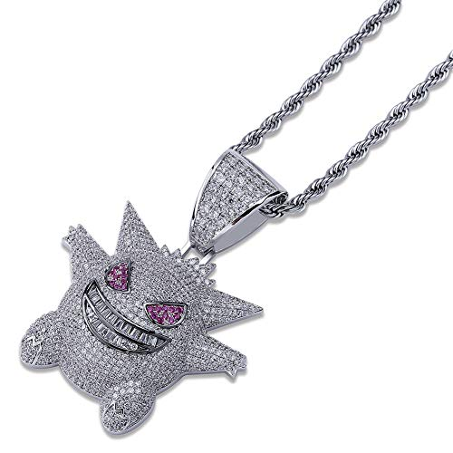 JINAO Hip Hop Gengar Pendant ICED Out Simulated Diamond Necklace with Rope Chain (Silver)