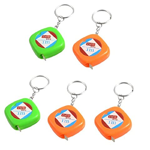 5 Pcs Orange Green Case Retractable Tape