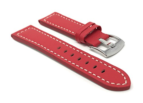 22mm Red Smartwatch Band Strap fits Motorola 360 (46mm Case), Samsung S3 Classic & Many More, Leather, Racer, White (Accomplice White Leather)